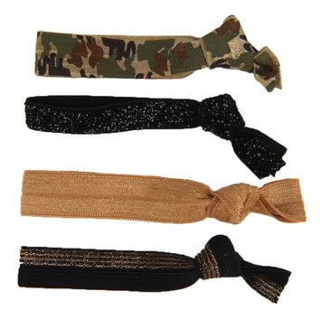 Glam Bands Camo, Black and Gold Combo Hair Ties
