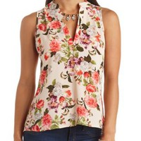 Floral Print High-Low Sleeveless Top by Charlotte Russe - Ivory Multi