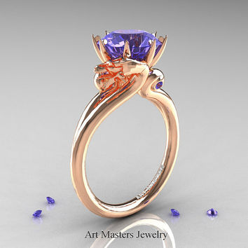 Art Masters Scandinavian 14K Rose Gold 3.0 Ct Tanzanite Dragon Engagement Ring R601-14KRGTA