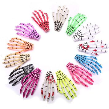 2PC Fashion Women Girls Creative Harajuku Skull Skeleton Hand Bone Hair Clip Claw Ghost Skeleton Halloween Party Hairpin