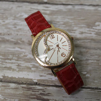 SWEETHEART red Fashion watch womens large face heart rhinestones crocodile look band valentines day watch  Catherine Cole Studio W14