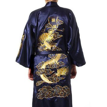 Free Navy Blue Chinese Men's Satin Silk Robe Embroidery Kimono Bath Gown Dragon Size S M L XL XXL XXXL S0008
