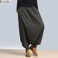 S-5XL ZANZEA 2017 Women High Waist Loose Casual Harem Pants Long Pants Wide Legs Plus Size Oversized Full-Length Baggy Pants