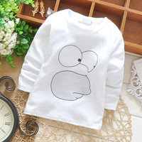Baby Toddler Kids T-shirt Cotton Character  Print Long Sleeve Winter Bottoming Shirts for Height 65-90cm Age 6-24M Kids G009