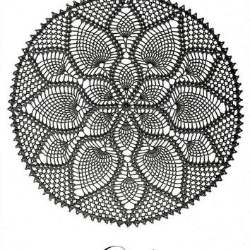 Black Crochet Lace Doily, Pineapple, Crochet Table Center, Made To Order