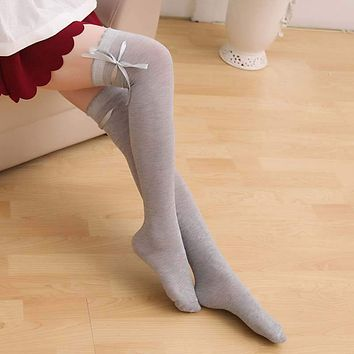 1Pair Fashion Women Girl Over Knee Long Socks Ribbon Bow Tie Lace Cartoon Japan Style Cosplay 3 Solid Color Sexy Tube Socks