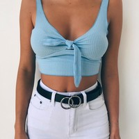 Buy Our Basic Tie Crop in Blue Online Today! - Tiger Mist