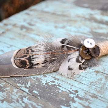 Rustic Feather Boutonniere