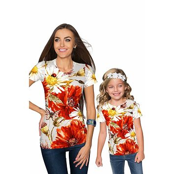 In The Wheat Field Zoe Designer Floral T-Shirt - Mommy & Me