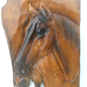 "Horse Head Wood Carving Natural Teak Wood Hand Carved Horse Head Rustic Driftwood Reclaimed Wall Hanging Home Art Decor / Gift 22""X12"""