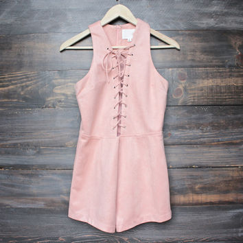 I suede it lace-up front romper in dusty pink