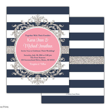 Navy printable wedding invitations suite - pink and navy diy printable wedding invite customizable colors - unique printed - WLP00560