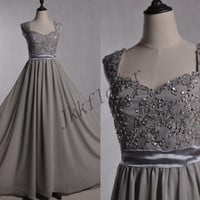 Long Gray Beaded Prom Dresses,,Wide Straps Evening Dresses,Ball Grown Parry Dresses,Chiffon Bridesmaid Dresses,Homecoming Dresses