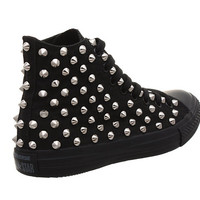 Studded Converse, Converse All Black High Top with Silver Cone Studs by CUSTOMDUO on ETSY