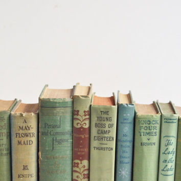 Vintage Shabby Green Book Collection