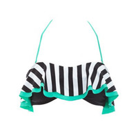 STRIPED DOUBLE-FLOUNCE BANDEAU BIKINI TOP