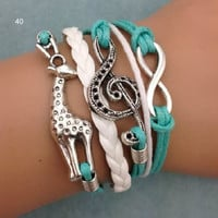 NEW Retro Infinity Giraffe Musical Note Leather Charm Bracelet plated Silver