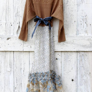 Bohemian Style Upcycled Maxi Dress- Brown and Blue Indie Fashion- Hipster Maxi Dress- Recycled boho winter dress