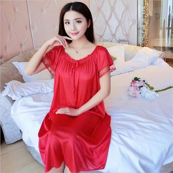 Latest Women fashion wearing loose Siamese Skirt sweet Girl Ice silk Nightdress Comfortable Indoor Clothing Home Suit Sleepwear