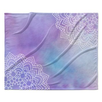 "Sylvia Cook ""Something Purple"" Purple Blue Digital Fleece Throw Blanket"