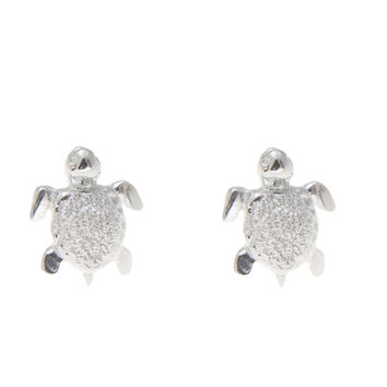 STERLING SILVER 925 HAWAIIAN SEA TURTLE STUD POST EARRINGS EXTRA SMALL 7MM