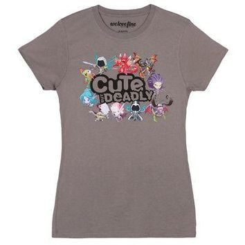 World Of Warcraft Cute But Deadly Licensed Women's Junior T-Shirt - Gray