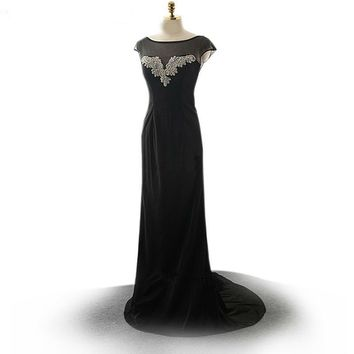 Backless Mermaid Dress Scoop Sleeveless Crystal Beading Chiffon Long Black Dresses