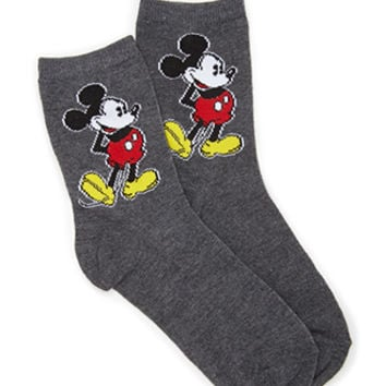 FOREVER 21 Classic Mickey Mouse Socks Charcoal/Black One