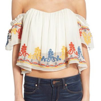 Tularosa 'Amelia' Embellished Off the Shoulder Crop Top | Nordstrom