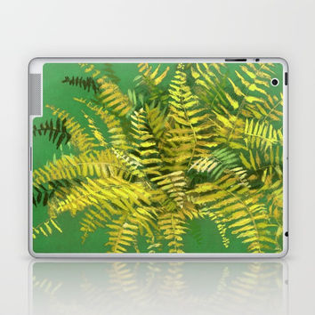 Golden Fern, floral art, green and yellow Laptop & iPad Skin by Clipso-Callipso