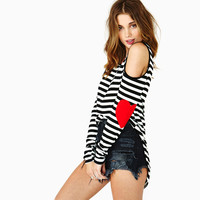 Striped Heart Elbow Print Cut Out Shoulder Top