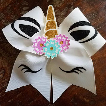 3D Unicorn Cheer Bow/Dance Bow/Softball Bow