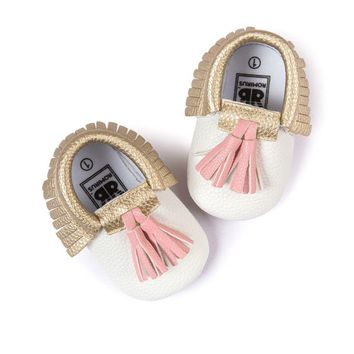 Baby Moccasins Shoes Baby Soft PU Leather Tassel Girls Bow Moccs Moccasin Bow First Walkers