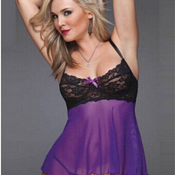 Hot Deal Cute On Sale Pale Violet Lace Sexy Plus Size Exotic Lingerie [6628004483]