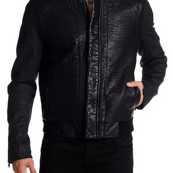 Rogue by Reilly Olmes Faux Leather Denim Sleeve Bomber Slauson Jacket