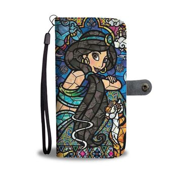 KUYOU Disney Princess Jasmine Stained Glass Pattern Wallet Phone Case