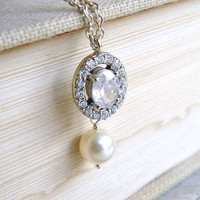 Wedding Jewelry Bridal Necklace Fancy Oval Cubic Zirconia and Swarovski Ivory Pearl Silver Pendant - Cynthia N9