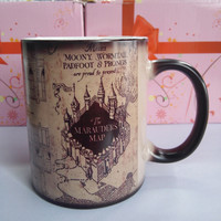 Harry Potter Mugs Marauders Map mug mischief managed mug morphing coffee mugs novelty heat changing color transforming Tea Cups