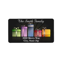 Colorful Christmas Gifts on Black Address Label