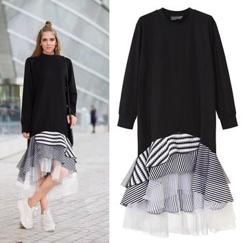 TWOTWINSTYLE 2018 Women Long Sleeve T Shirt Midi Dress Patchwork Stripe Mesh Ruffle Flare Asymmetrical Hem Pullover Casual