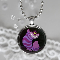 Cheshire Cat  Round Cabochon Necklace or keyring V4564