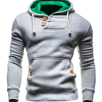 Hooded Front Pocket Design Long Sleeves Hoodie