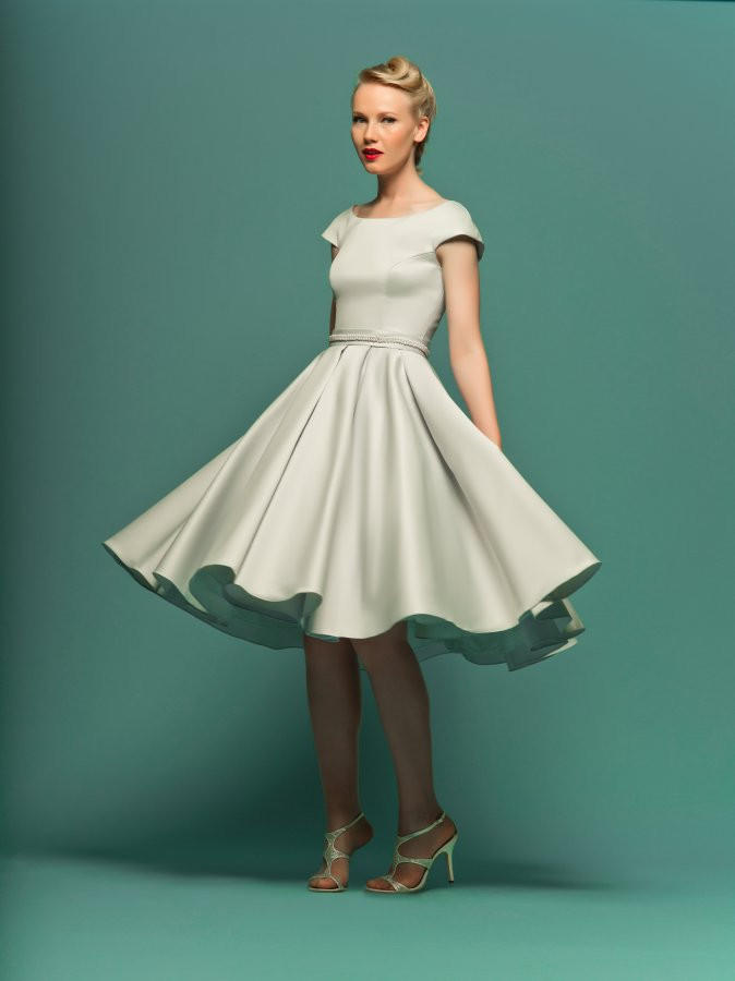 5826b269c6 Modest Retro 50s Knee Length Formal from JoJo Dress