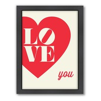 Americanflat Motivated Type ''Love You'' Heart Framed Wall Art