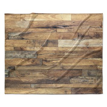 "Susan Sanders ""Campfire Wood"" Rustic Fleece Throw Blanket"