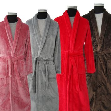 New Arrival Silk Flannel Winter Long Bathrobe - Kimono Robe