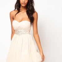 Little Mistress | Little Mistress Embellished Waist Sweetheart Bandeau Skater at ASOS