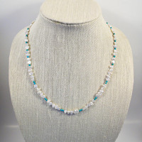 Keshi Pearl and Turquoise Necklace