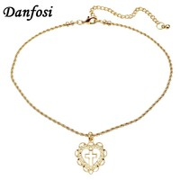 Danfosi Simple Design Heart Cross Choker Gold Color Chain Bib Collar Maxi Chokers Necklaces For Women Charm Jewelry Bijoux