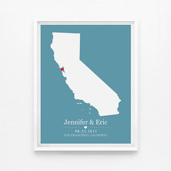 Personalized Wedding Gift - Califonia Custom Location and State Map 8x10 Map Print